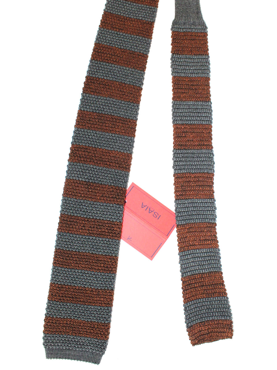Isaia Square End Tie Charcoal Brown Stripes Knitted Wool Silk Necktie