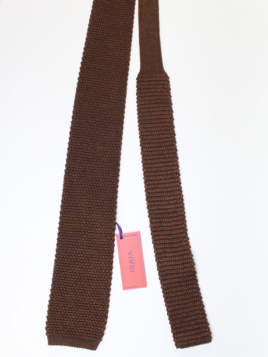 Isaia Square End Tie Brown Knitted Wool Silk Necktie