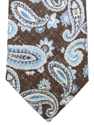 Isaia Silk Tie Dark Brown Royal Blue Paisley