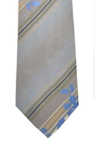 Kenzo Narrow Tie Gray Taupe Lavender Stripes Floral FINAL SALE