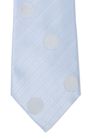 Kenzo Narrow Tie Sky Blue Gray Silver Polka Dots SALE