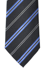 Kenzo Tie Black Blue Silver Stripes