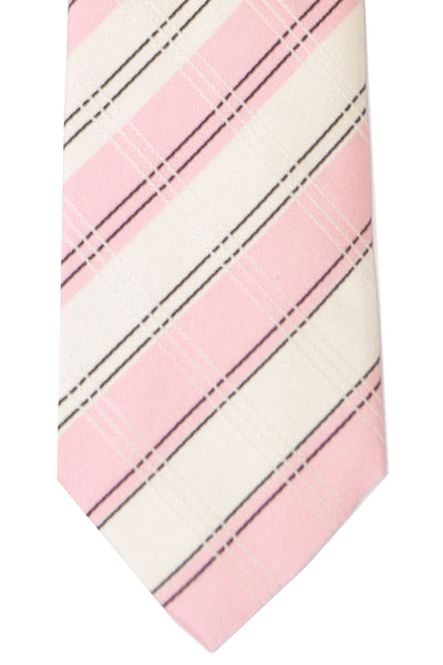Kenzo Tie White Pink Stripes - Narrow Necktie