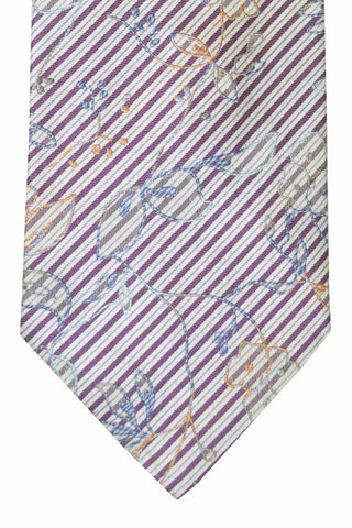 Kenzo Tie Purple Silver Peach Stripes Floral Design SALE