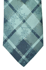 Kenzo Tie Gray Silver Plaid Floral Design