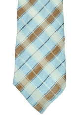 Kenzo Narrow Tie Sky Blue Brown Stripes