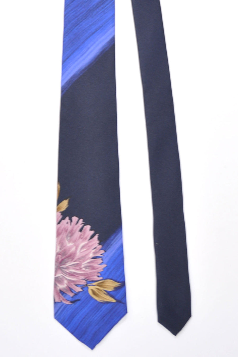 Kenzo Narrow Tie Black Navy Blue Dust Pink Floral