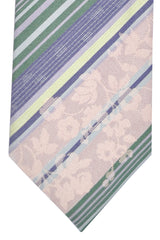 Kenzo Tie Pink Green Plum Stripes Floral
