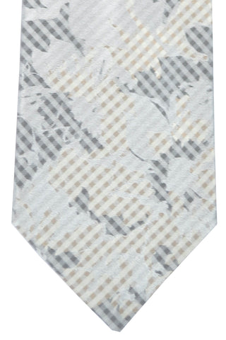 Kenzo Tie Gray Silver Taupe Floral Stripes FINAL SALE