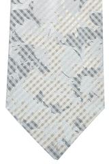 Kenzo Tie Gray Silver Taupe Floral Stripes