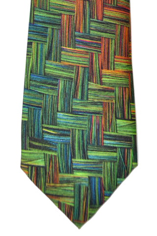 Kenzo Tie Brown Green - Narrow Necktie