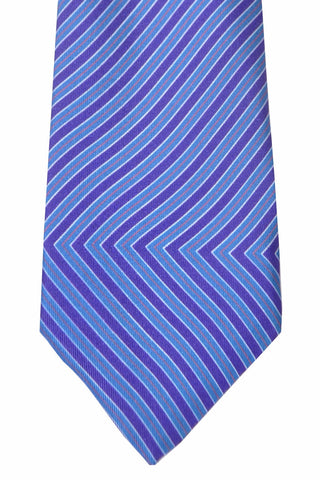 Kenzo Tie Purple Navy Pink Stripes - Narrow Necktie