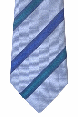 Kenzo Tie Periwinkle Navy Dark Emerald Stripes - Narrow Necktie