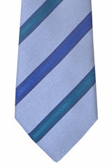 Kenzo Tie Periwinkle Navy Dark Emerald Stripes
