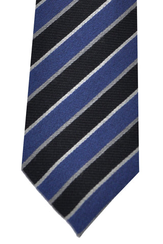Kenzo Wool Tie Navy Silver Stripes - Narrow Necktie