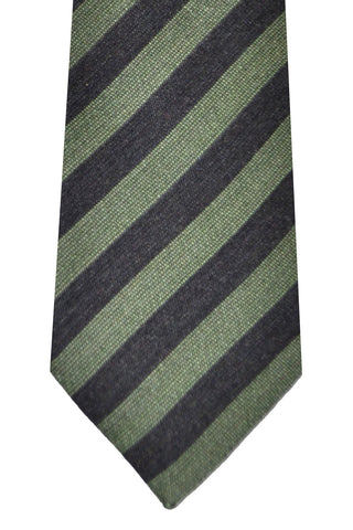 Kenzo Wool Silk Tie Green Stripes - Narrow Necktie