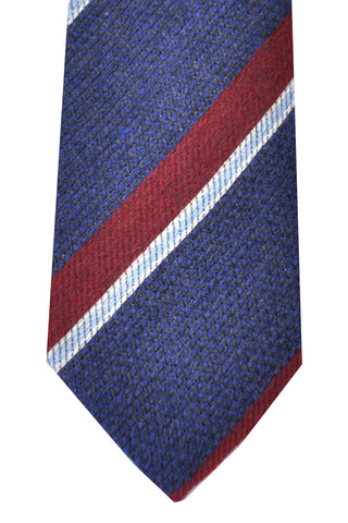 Kenzo Wool Silk Tie Dark Blue Gray Burgundy Stripes - Narrow Necktie