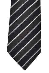 Kenzo Tie Black Brown Silver Stripes - Narrow Necktie