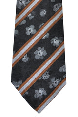 Kenzo Tie Black Brown Gray Floral Stripes - Narrow Necktie