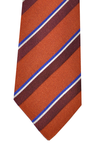 Kenzo Tie Copper Brown Royal Blue Stripes - Narrow Necktie