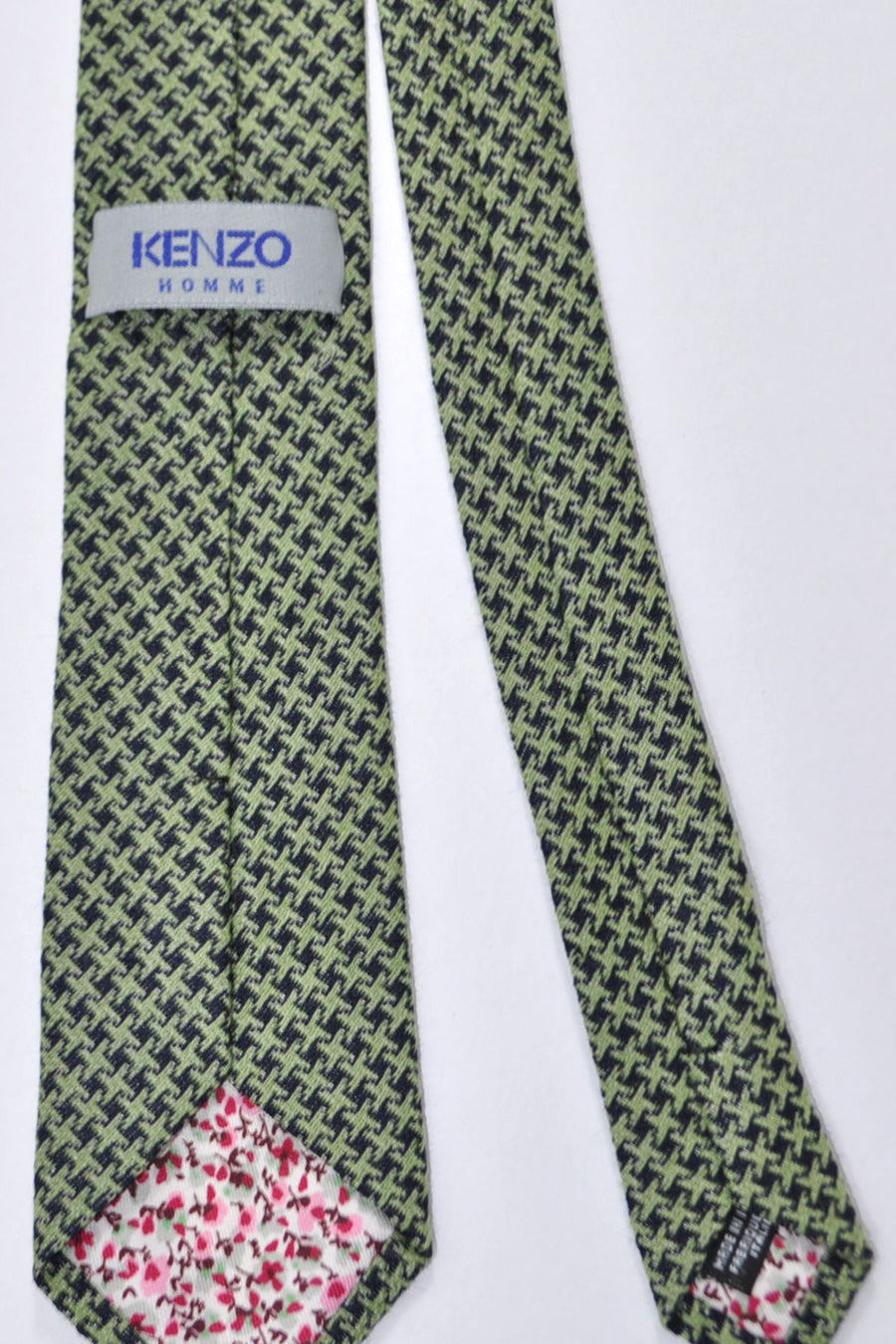 Kenzo Tie Green Black Geometric - Narrow Necktie