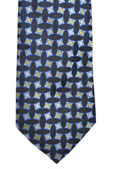 Kenzo Tie Black Sky Blue Yellow Geometric - Narrow Necktie