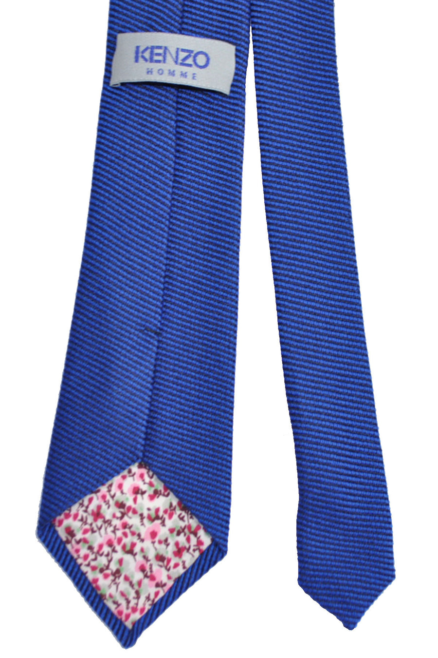 Kenzo Tie Dark Navy Royal Blue Grosgrain - Narrow Necktie