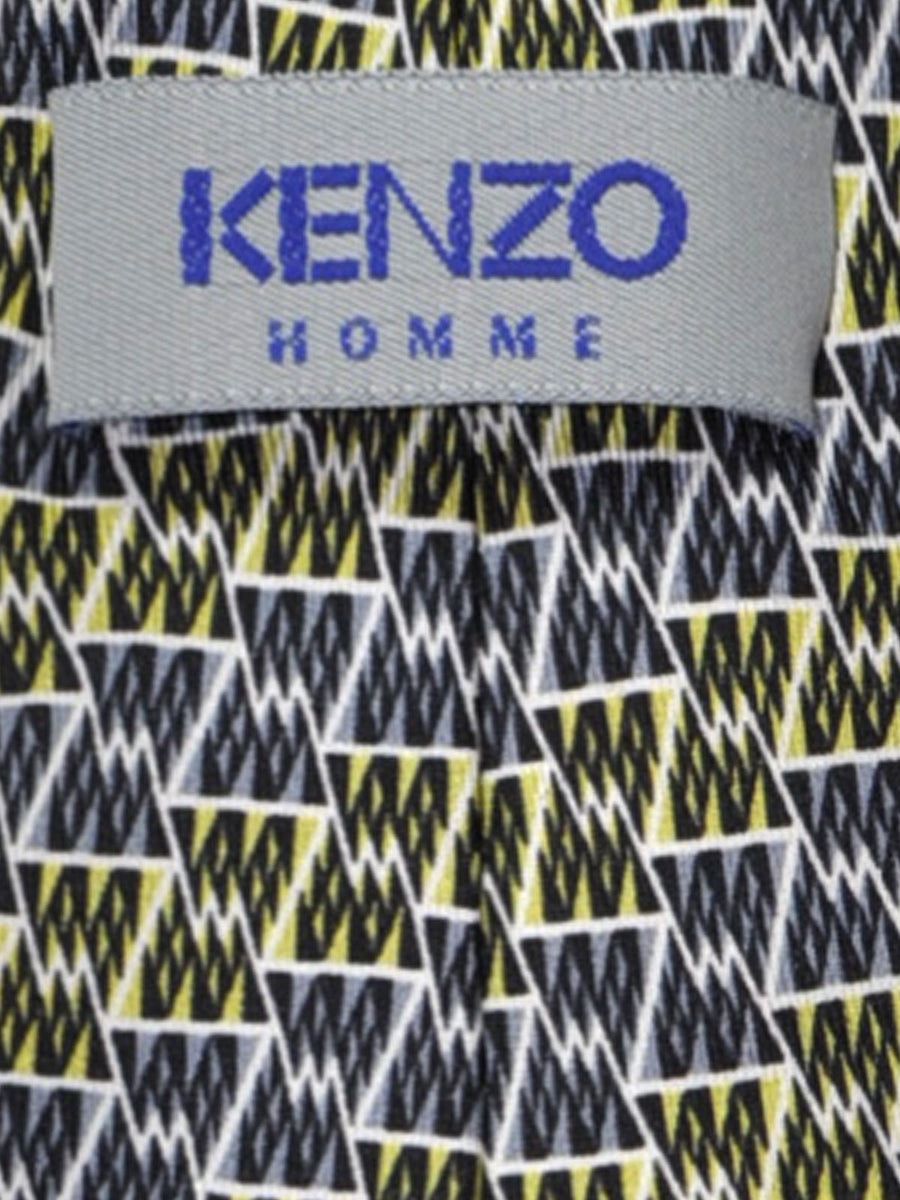 Kenzo Tie Gray Black Lime Geometric - Narrow Necktie