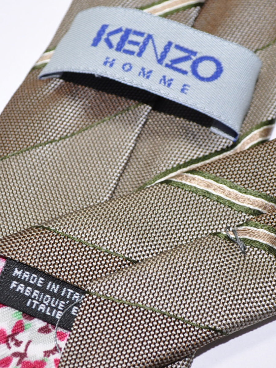 Kenzo Tie Taupe Cream Green Stripes - Narrow Necktie