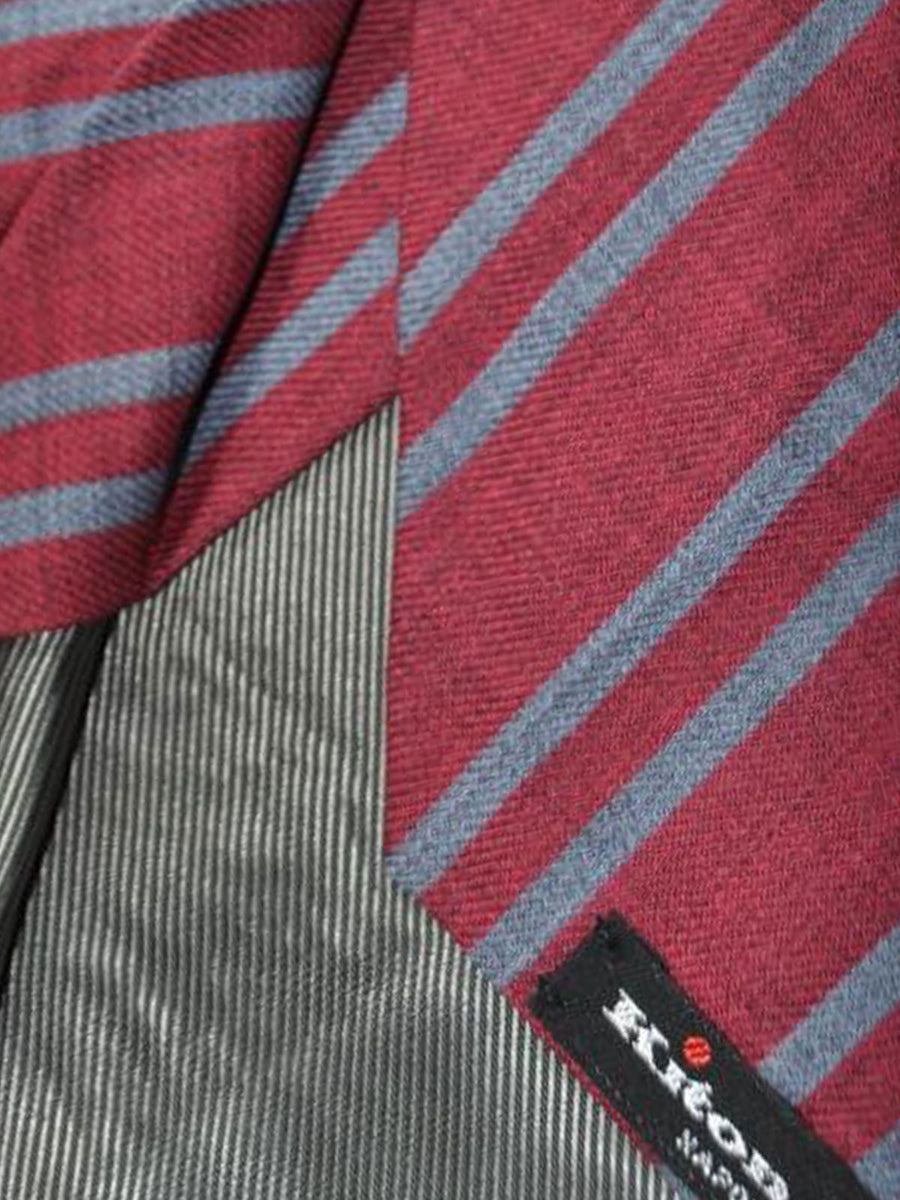 Kiton Wool Tie Fuchsia Gray Stripes Sevenfold Necktie