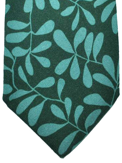 Kiton Cashmere Wool Tie Green Blue Leaves Sevenfold Necktie