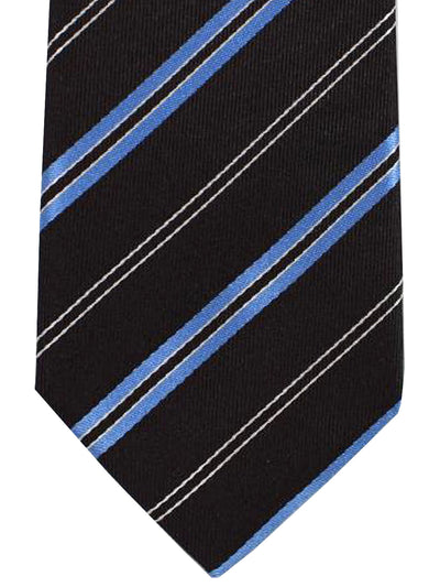 Kenzo Tie Black Blue Silver Stripes - Narrow Necktie