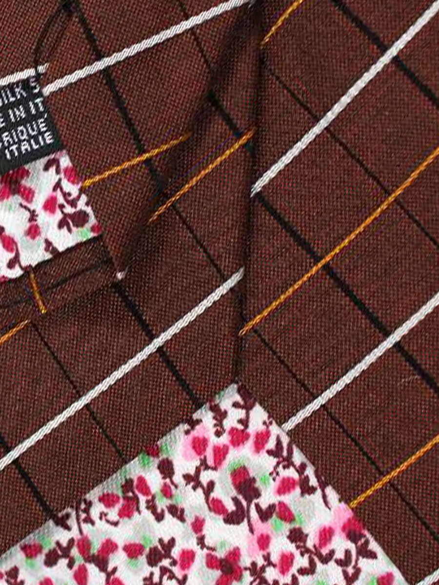 Kenzo Tie Brown Check - Narrow Necktie