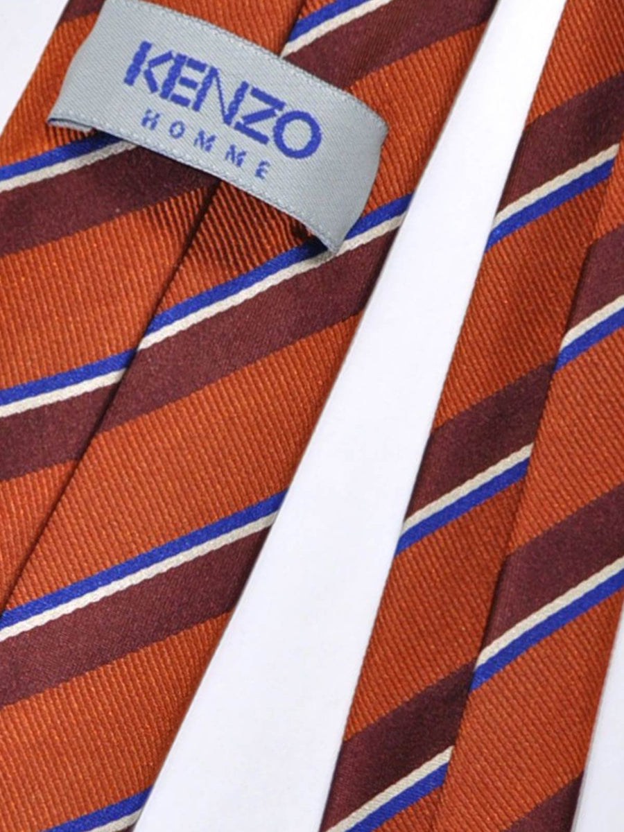 Kenzo Silk Tie Copper Brown Royal Blue Stripes - Narrow Necktie SALE