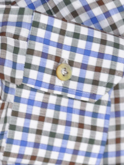 Kiton Shirt White Black Brown Blue Check - 39 - 15 1/2 REDUCED - SALE
