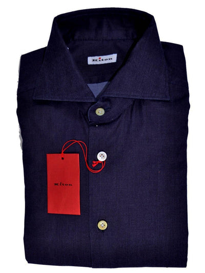 Kiton Napoli Shirt Midnight Purple Solid 39 - 15 1/2 Slim Fit SALE