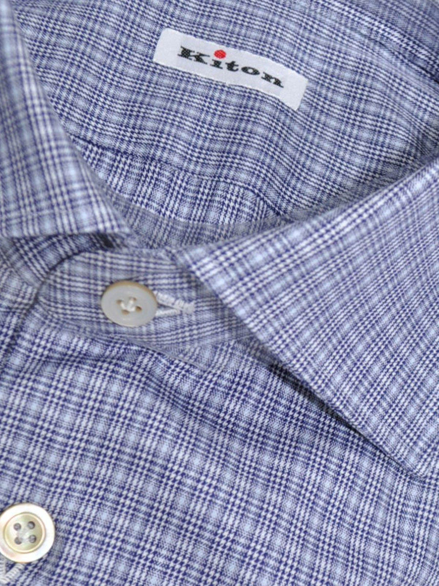 Kiton Shirt Navy Gray Check Houndstooth