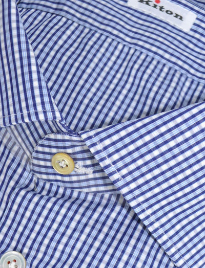 Kiton Dress Shirt White Blue Navy Check 45 - 18 SALE