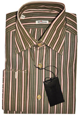 Kiton Shirt Green Burgundy Stripes French Cuffs