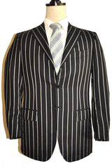 Kiton Sport Coat Black Stripes 48 / US 38