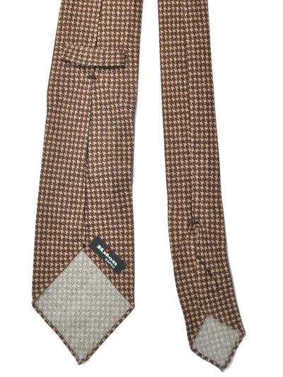 Kiton Cashmere Silk Tie Brown Houndstooth Unlined Sevenfold Tie SALE