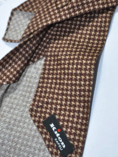 Kiton Cashmere Silk Tie Brown Houndstooth Unlined Sevenfold Tie