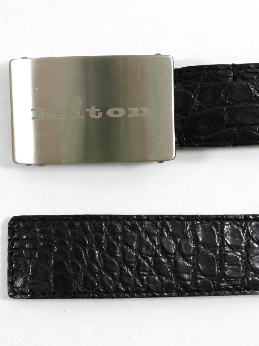 Kiton Crocodile Leather Belt Black Men Belt New