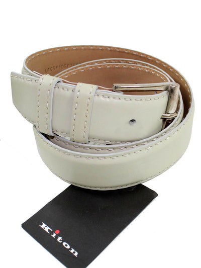 Kiton Belt Gray Leather Men Belt