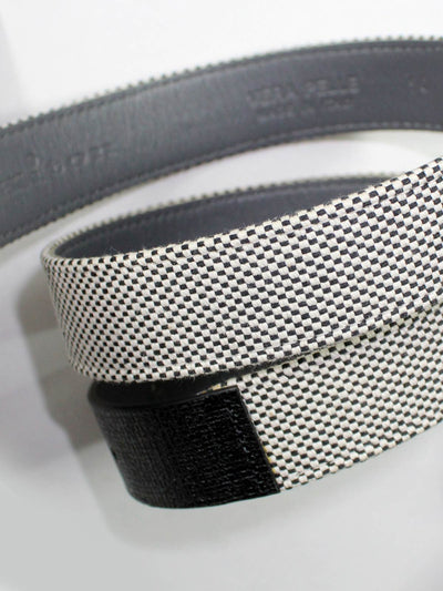Kiton Belt Black White Men Belt 100 / 40 - FINAL SALE
