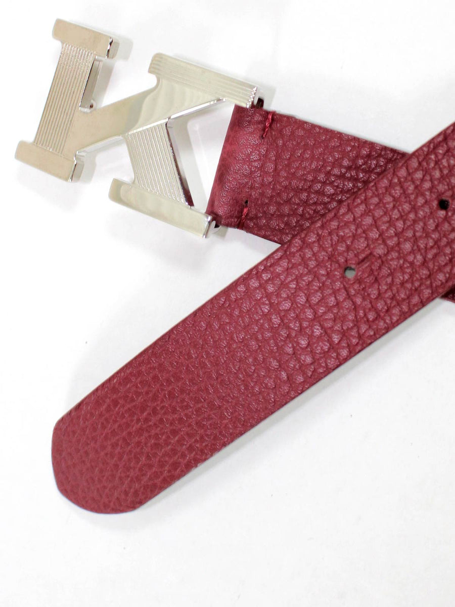 Kiton Belt Bordeaux Leather Men Belt 95 / 38