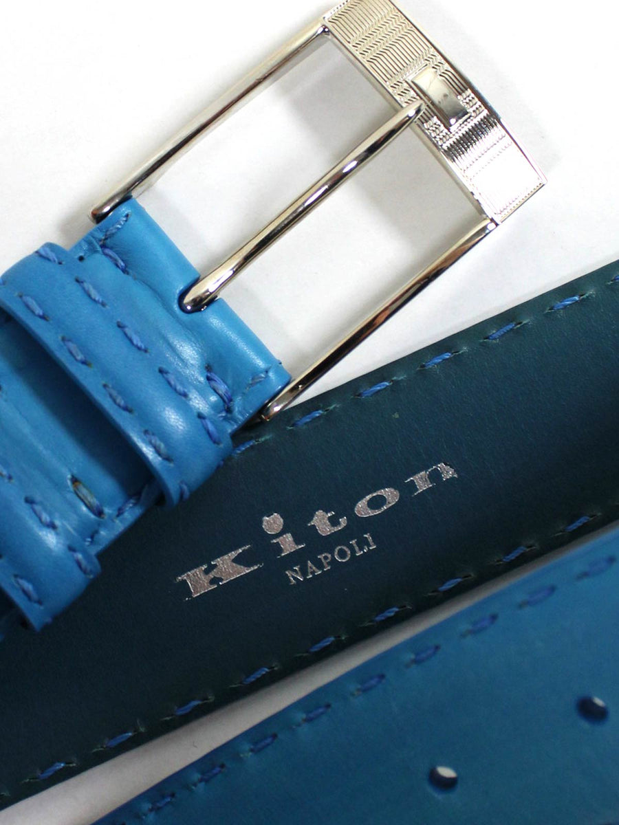 Kiton Belt Blue Leather Men Belt Genuine