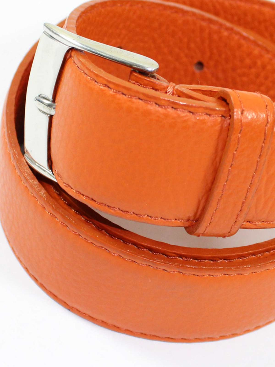 Kiton Belt Orange Grain Leather Sterling Silver Buckle