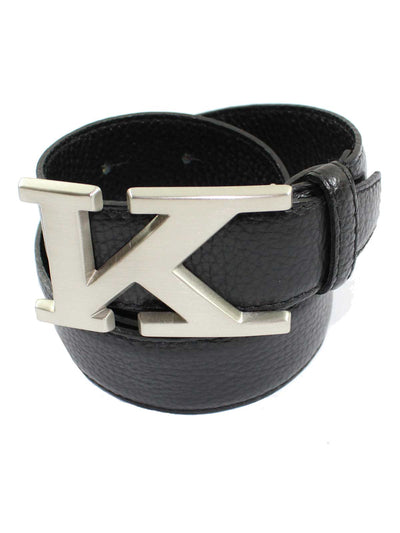 Kiton Leather Belt Black Silvertone K Buckle