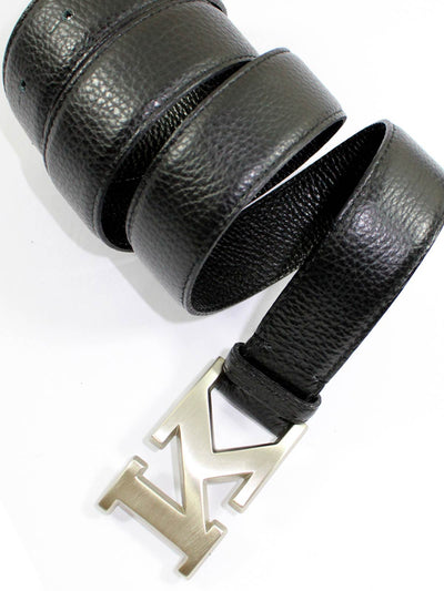 Kiton Leather Belt Black Silvertone K Buckle 85/ 34